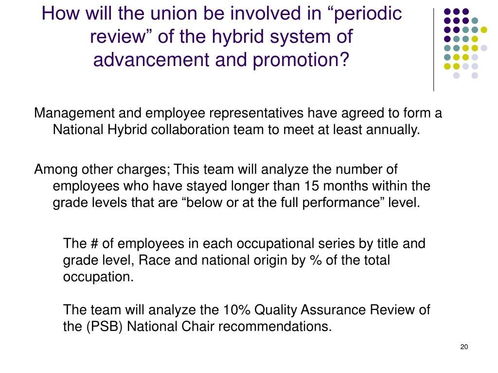"How will the union be involved in ""periodic review"" of the hybrid system of advancement and promotion?"