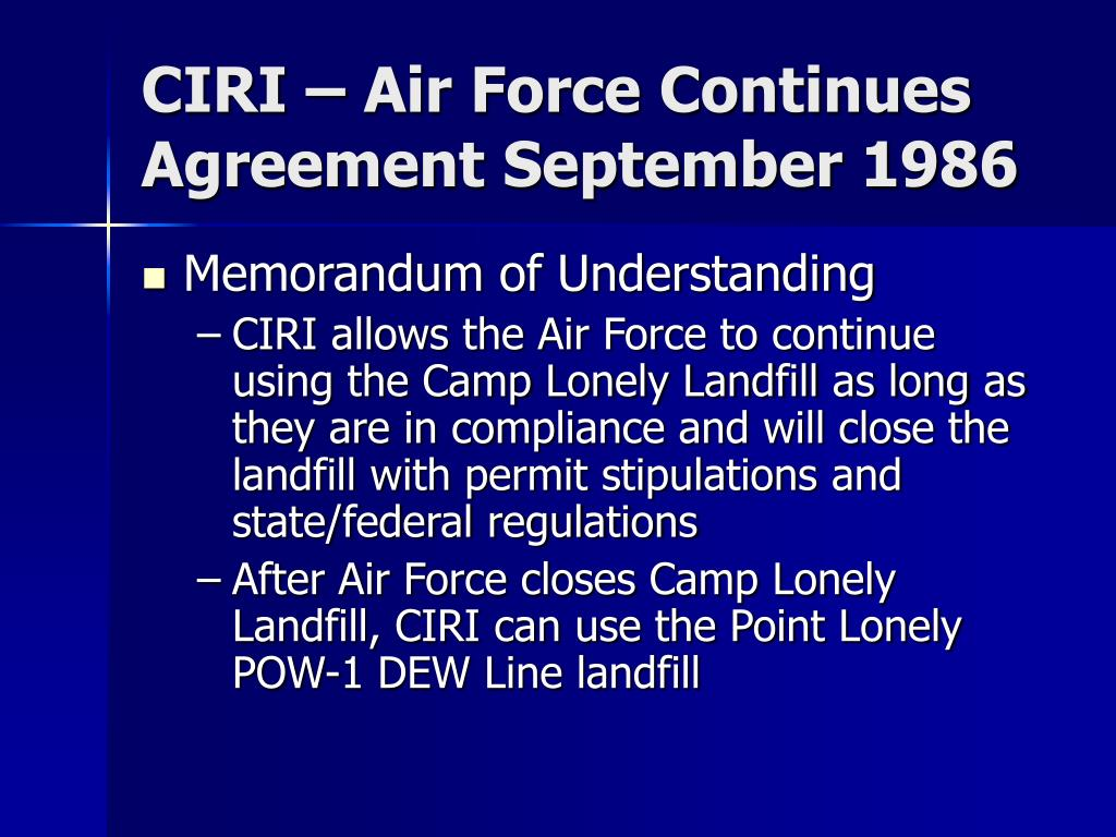 CIRI – Air Force Continues Agreement September 1986