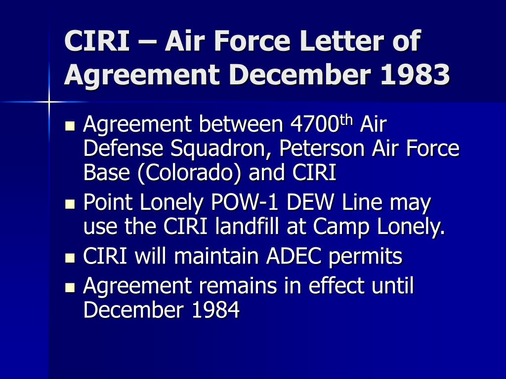 CIRI – Air Force Letter of Agreement December 1983