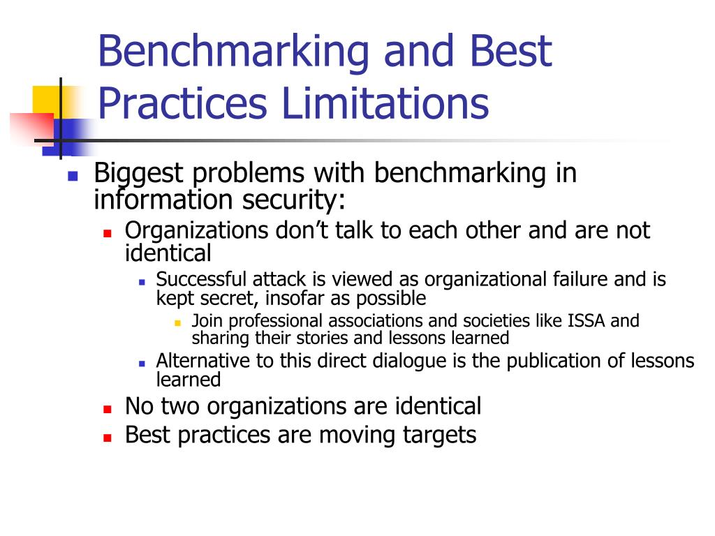 Benchmarking and Best Practices Limitations