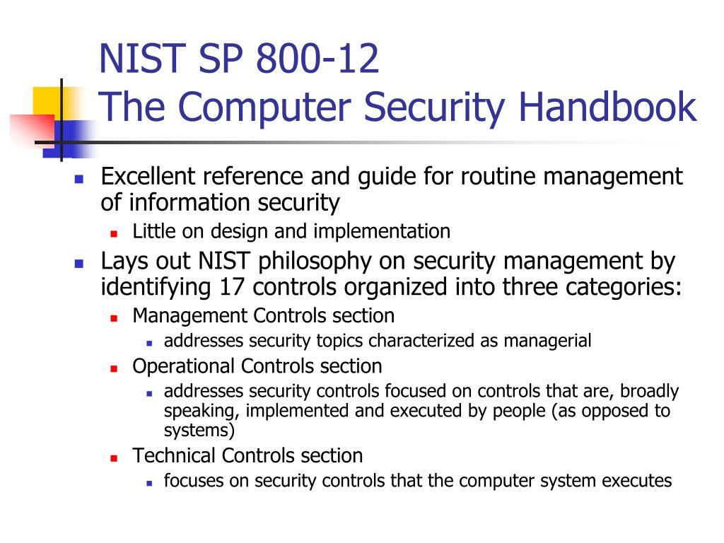 NIST SP 800-12