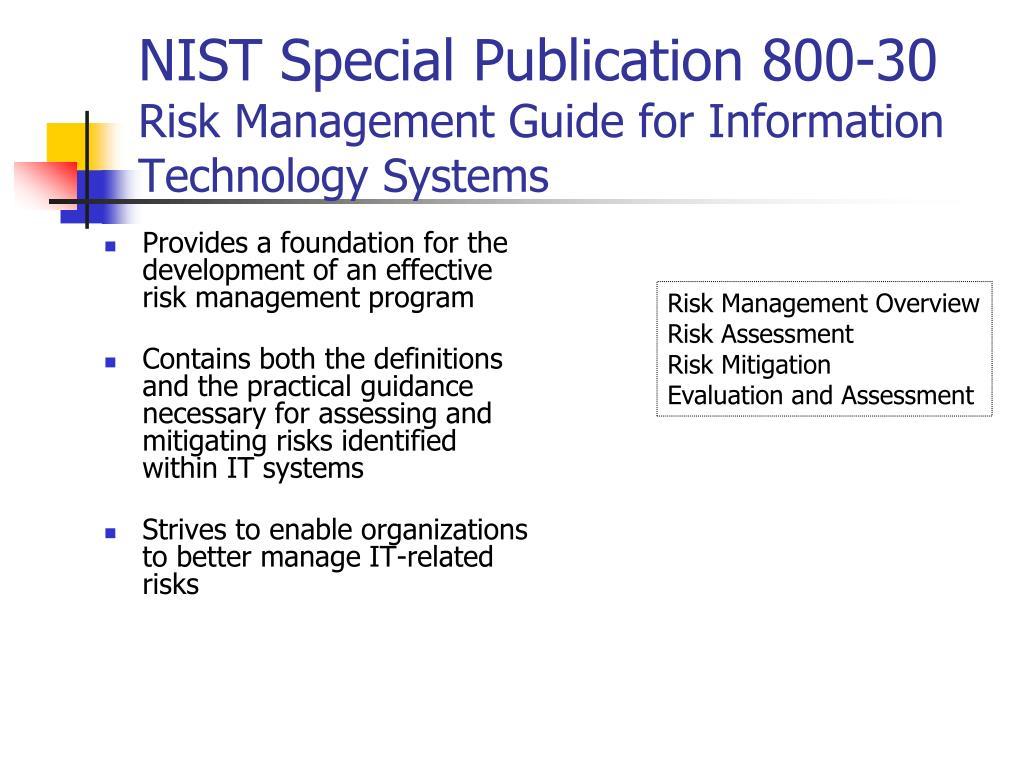 NIST Special Publication 800-30