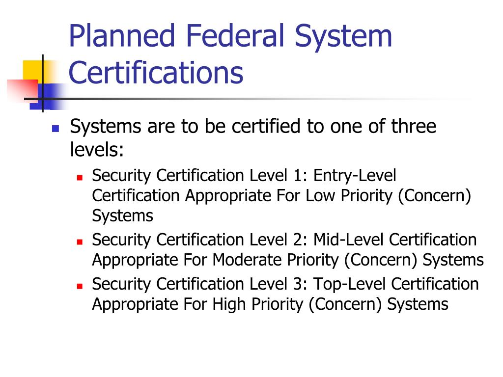 Planned Federal System Certifications