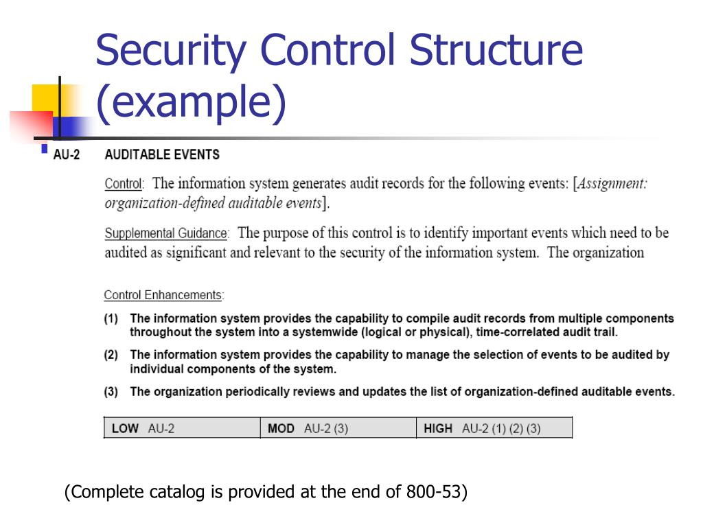 Security Control Structure (example)