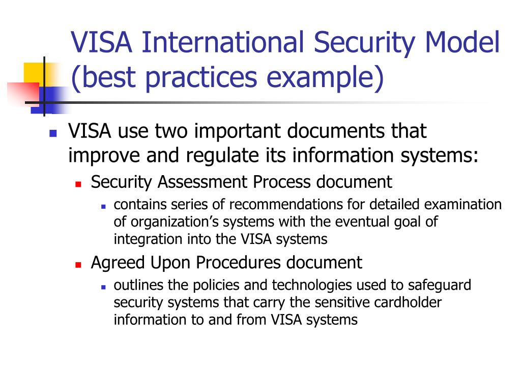VISA International Security Model (best practices example)