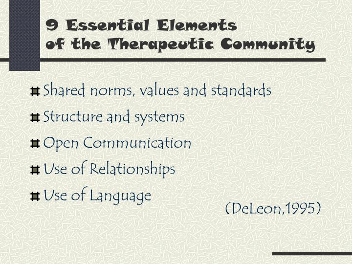 9 essential elements of the therapeutic community3