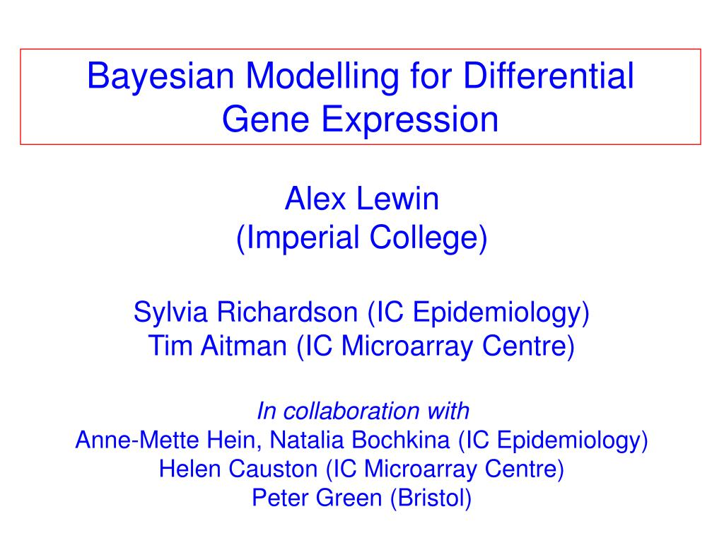 Bayesian Modelling for Differential