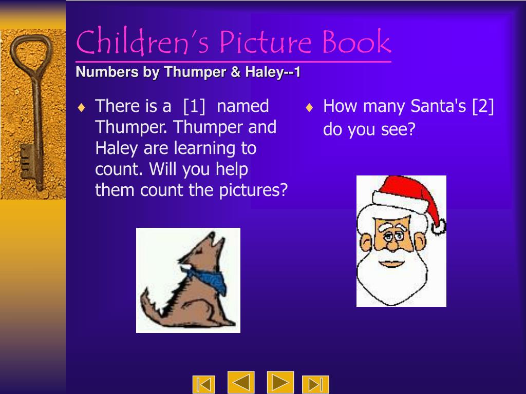 There is a  [1]  named Thumper. Thumper and Haley are learning to count. Will you help them count the pictures?