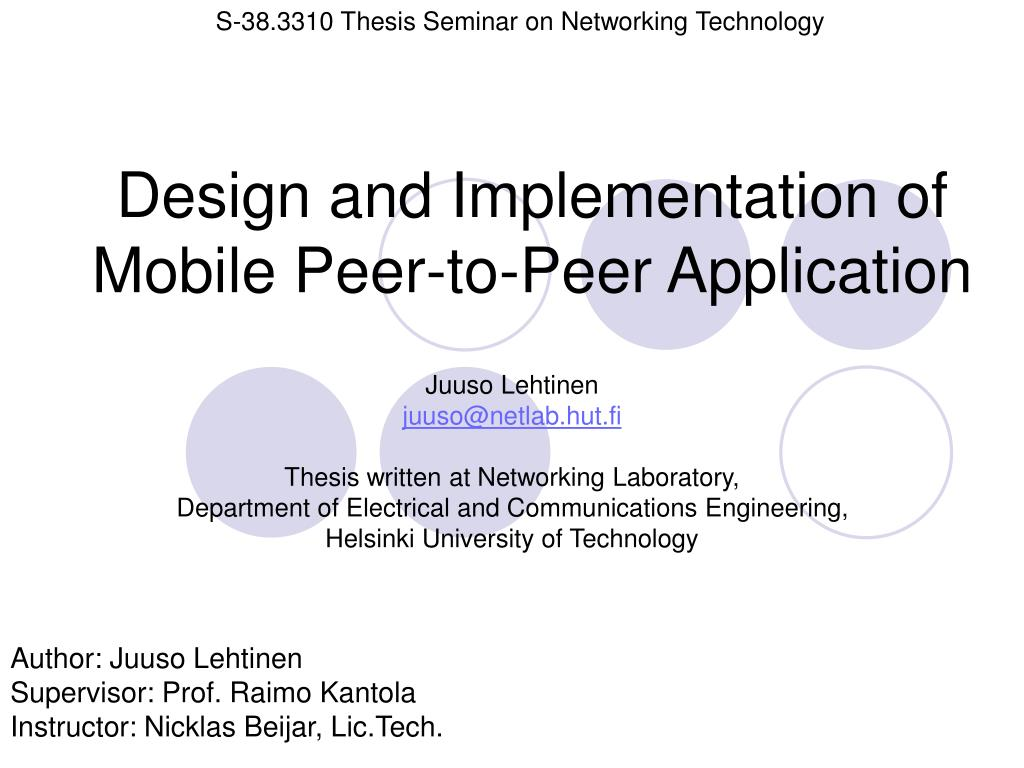 design and implementation of mobile peer to peer application