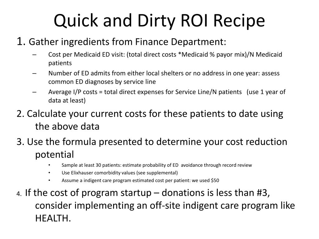 Quick and Dirty ROI Recipe