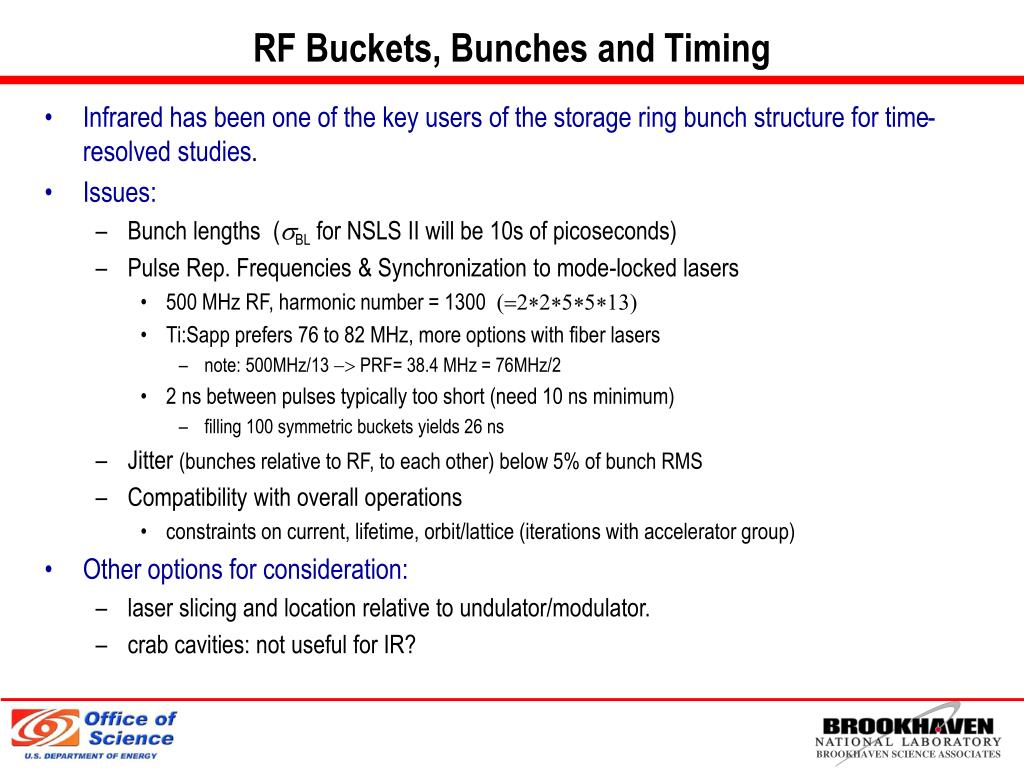 RF Buckets, Bunches and Timing