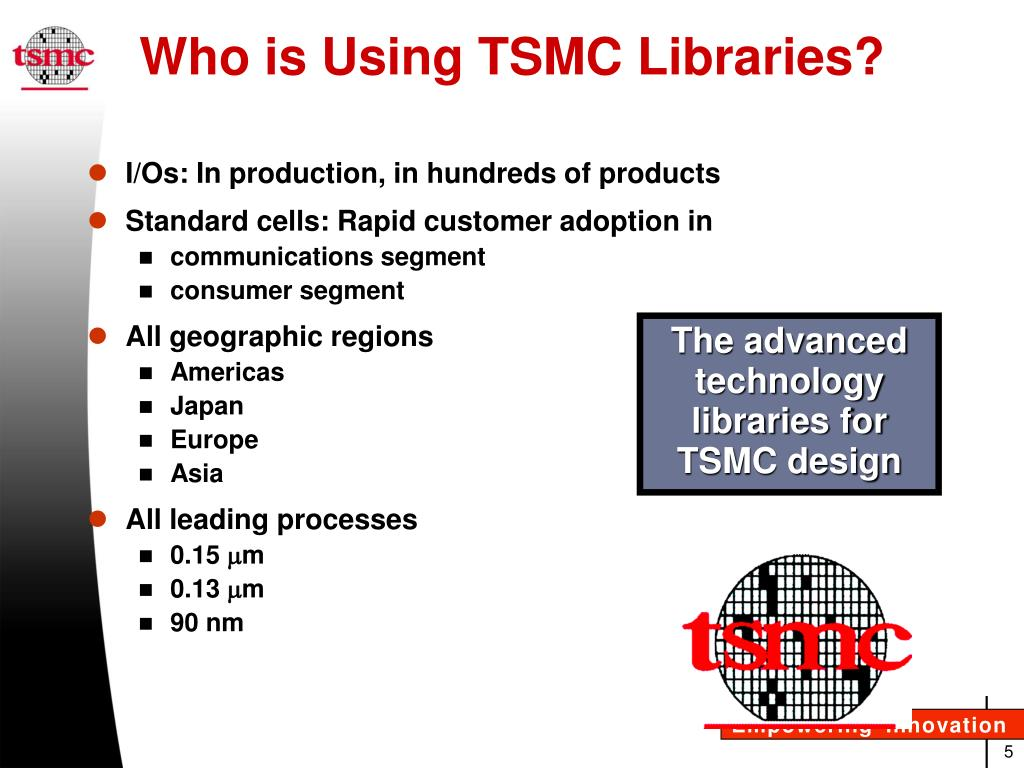 PPT - TSMC Libraries Advanced Technology Standard Cells Industry