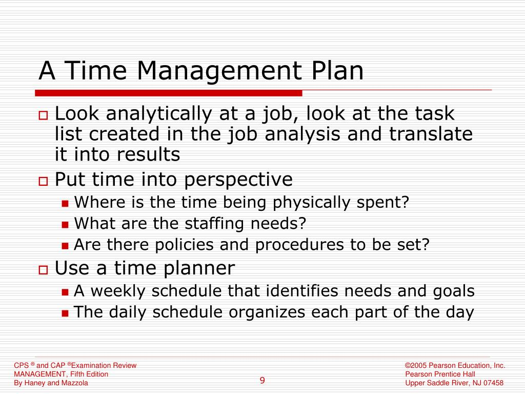 A Time Management Plan