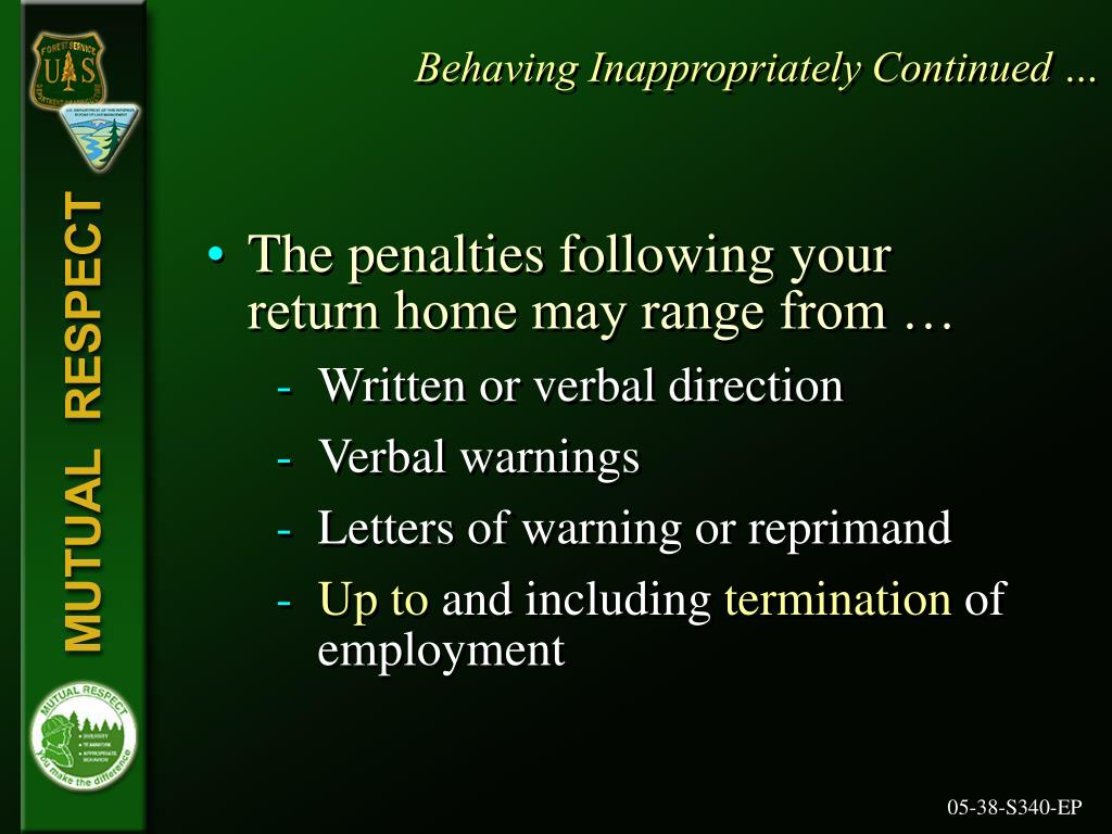 Behaving Inappropriately Continued …
