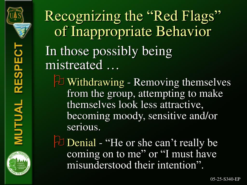 """Recognizing the """"Red Flags"""" of Inappropriate Behavior"""