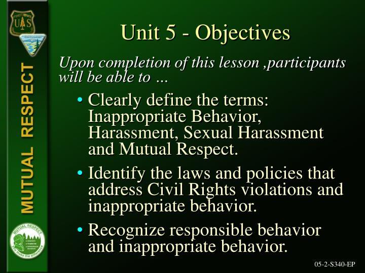 Unit 5 objectives
