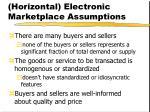 horizontal electronic marketplace assumptions