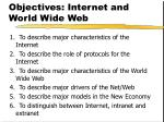 objectives internet and world wide web