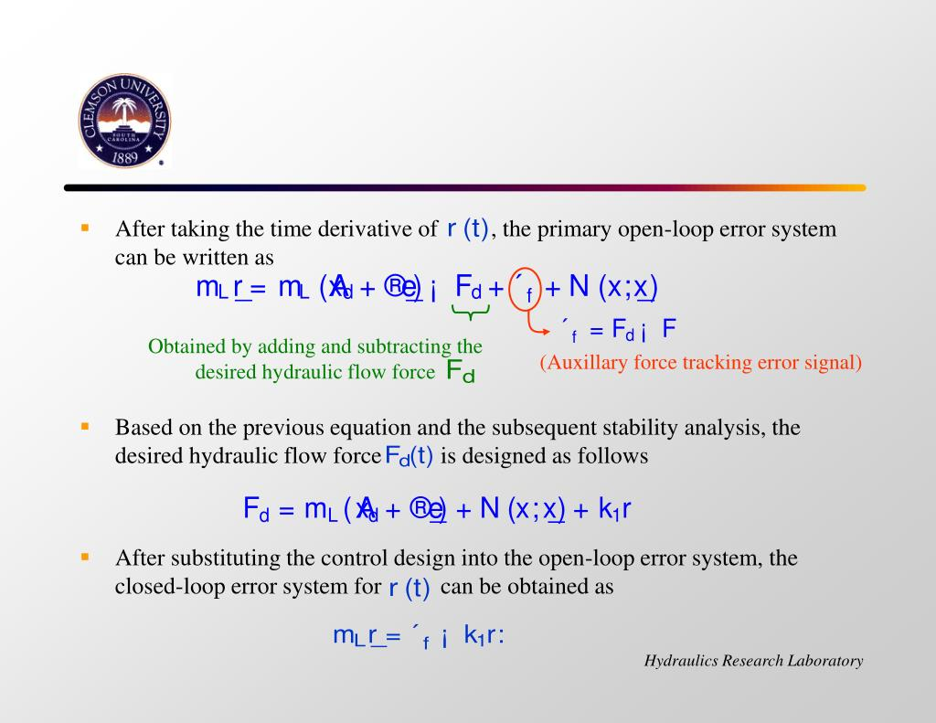 After taking the time derivative of         , the primary open-loop error system  can be written as