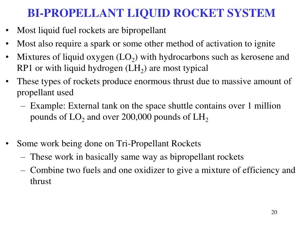 BI-PROPELLANT LIQUID ROCKET SYSTEM