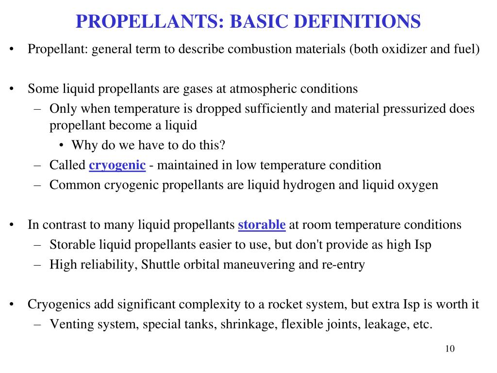 PROPELLANTS: BASIC DEFINITIONS