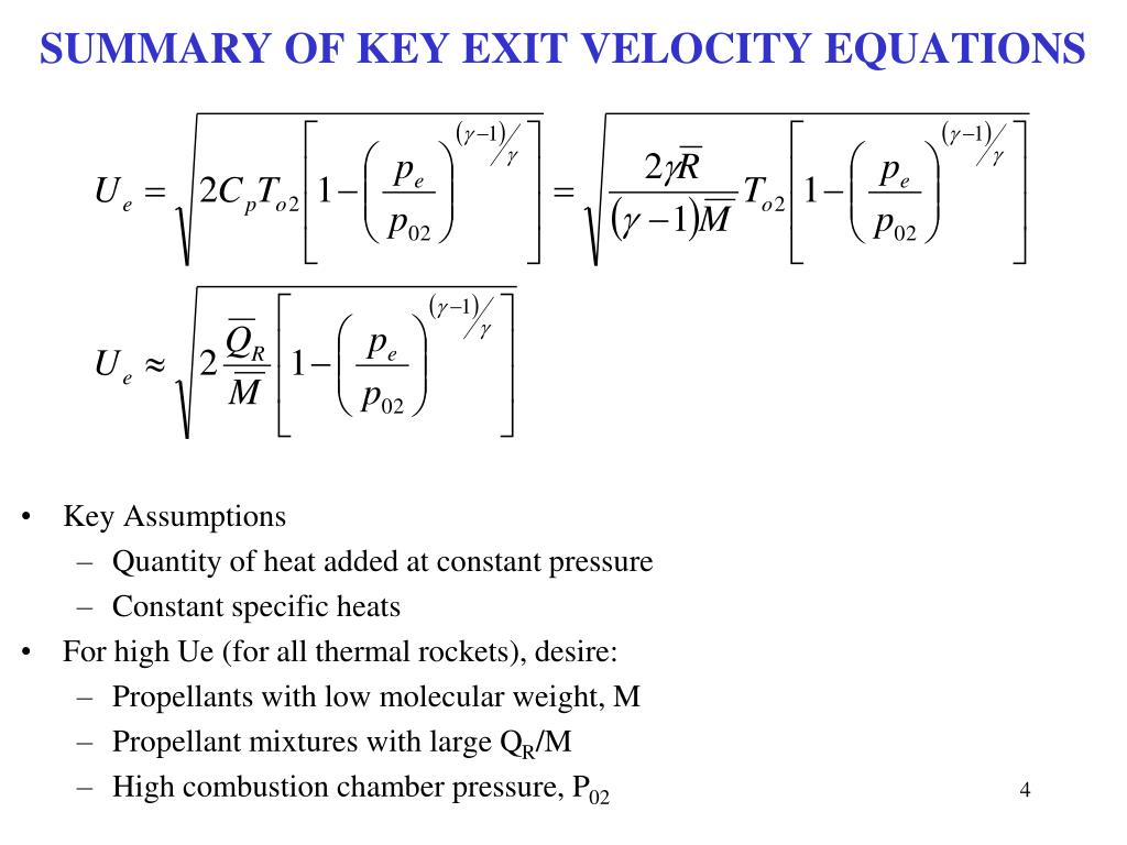 SUMMARY OF KEY EXIT VELOCITY EQUATIONS