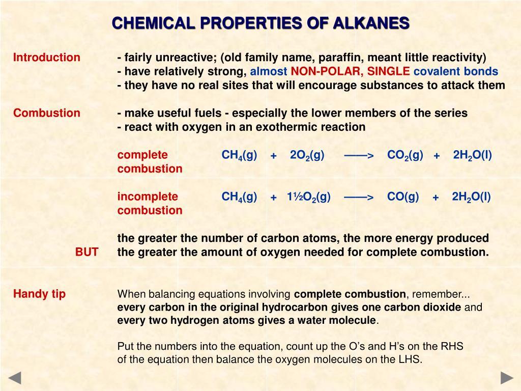 CHEMICAL PROPERTIES OF ALKANES