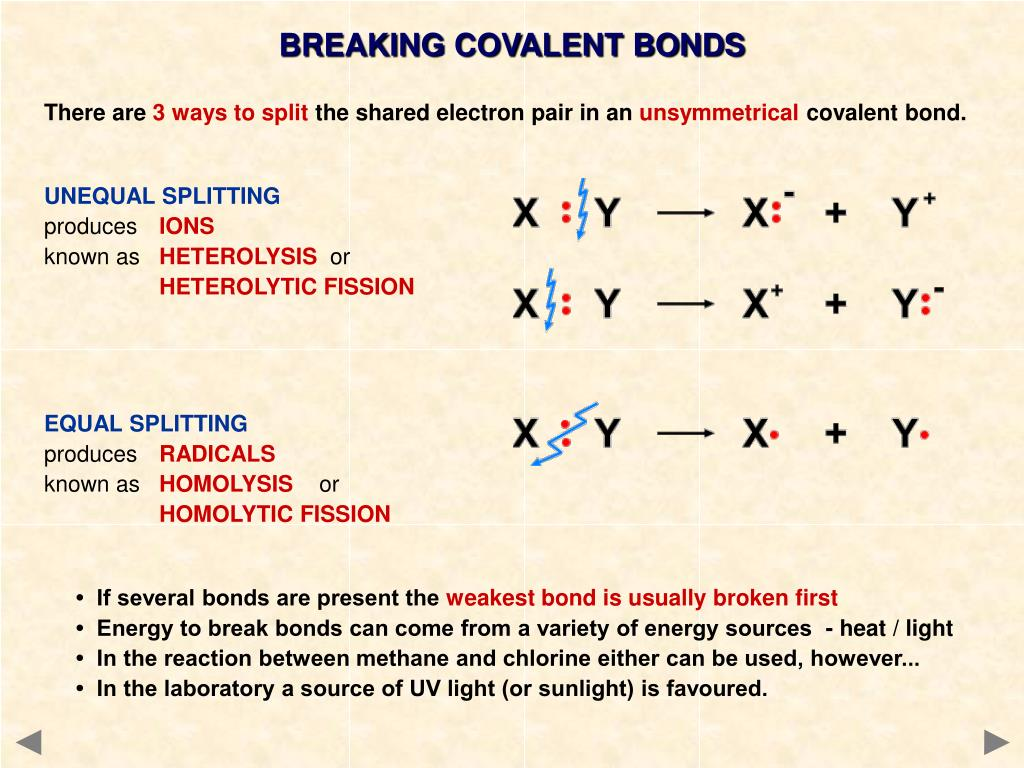 BREAKING COVALENT BONDS