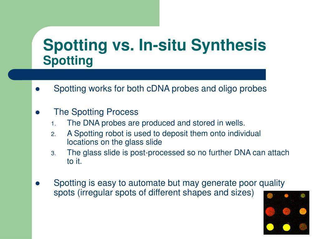 Spotting vs. In-situ Synthesis