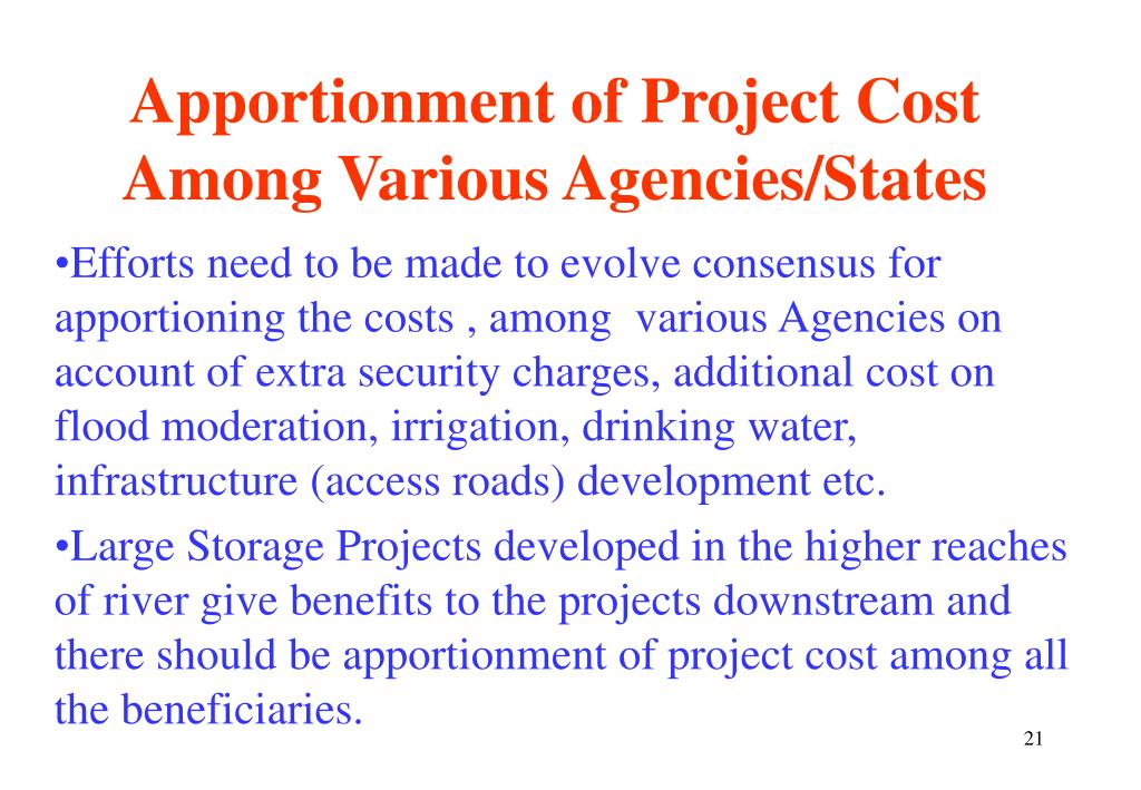Apportionment of Project Cost Among Various Agencies/States