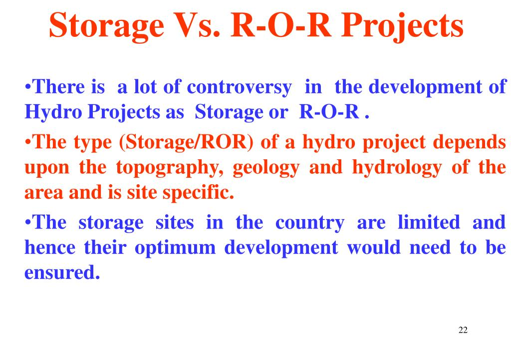Storage Vs. R-O-R Projects