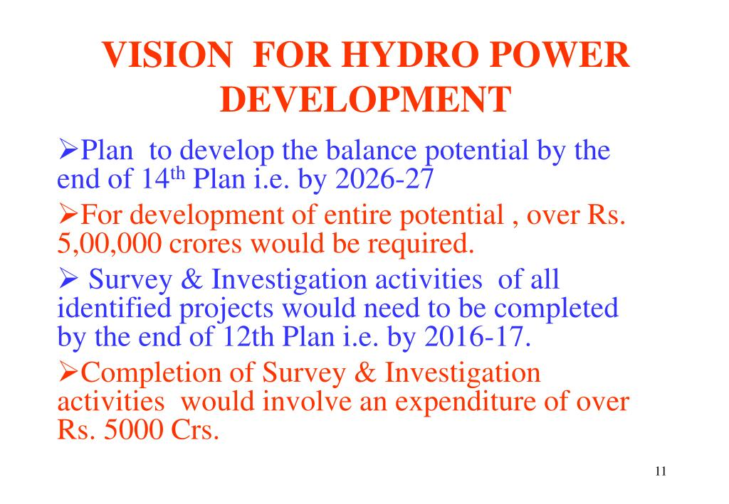 VISION  FOR HYDRO POWER DEVELOPMENT