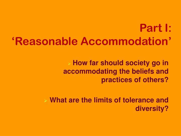 Part i reasonable accommodation