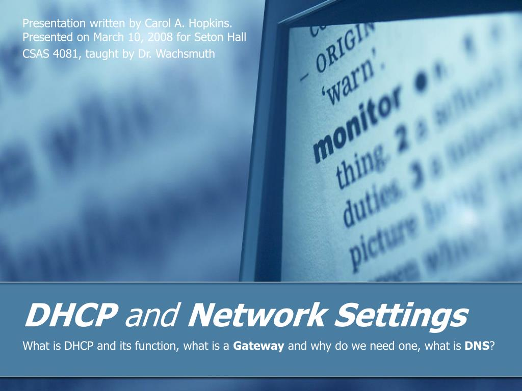 dhcp and network settings l.