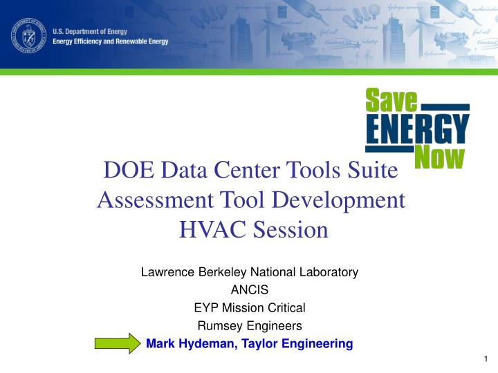 Doe data center tools suite assessment tool development hvac session