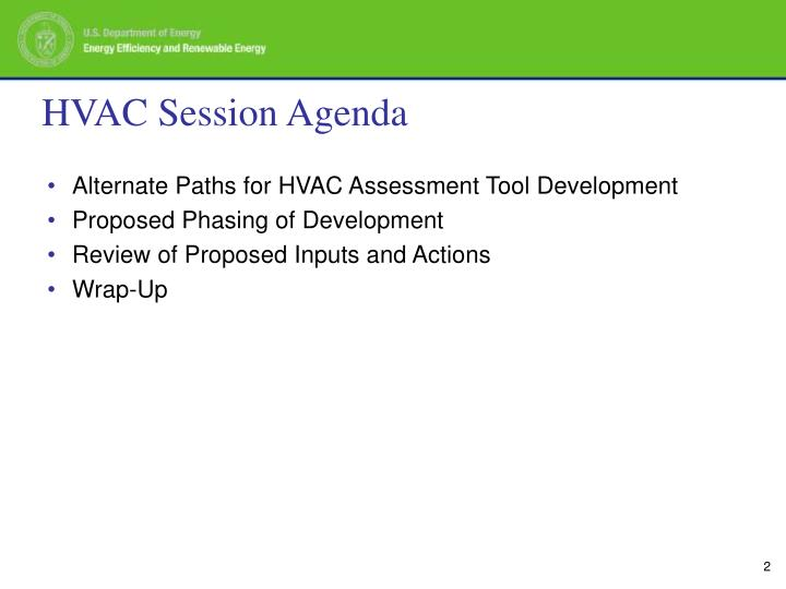Hvac session agenda