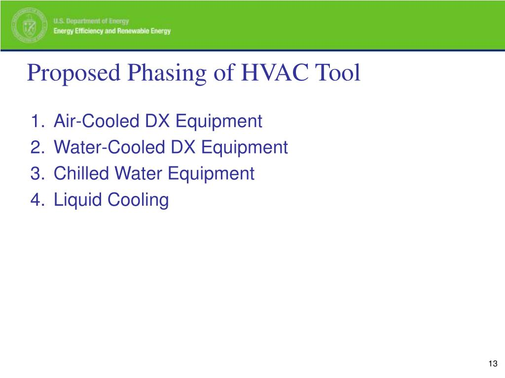 Proposed Phasing of HVAC Tool