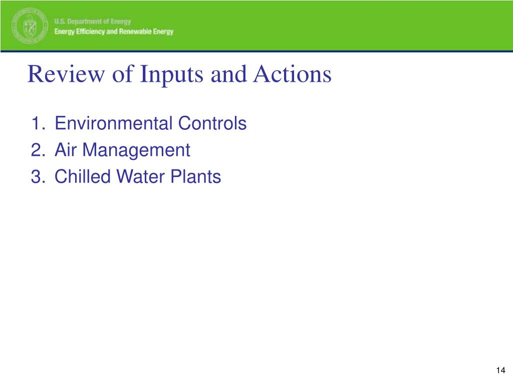 Review of Inputs and Actions