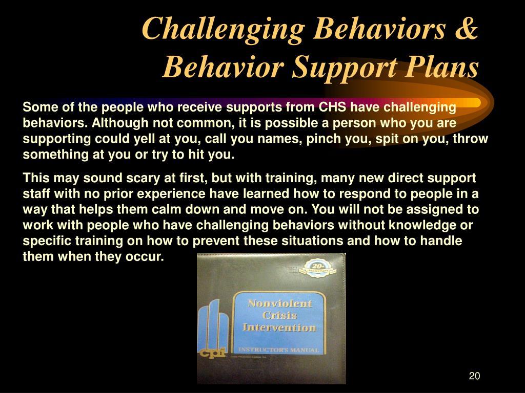 Challenging Behaviors & Behavior Support Plans