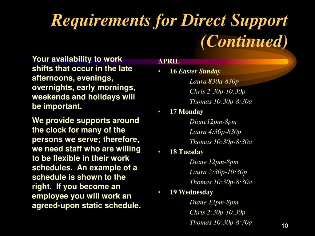 Requirements for Direct Support (Continued)