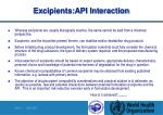 excipients api interaction