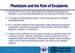 photolysis and the role of excipients