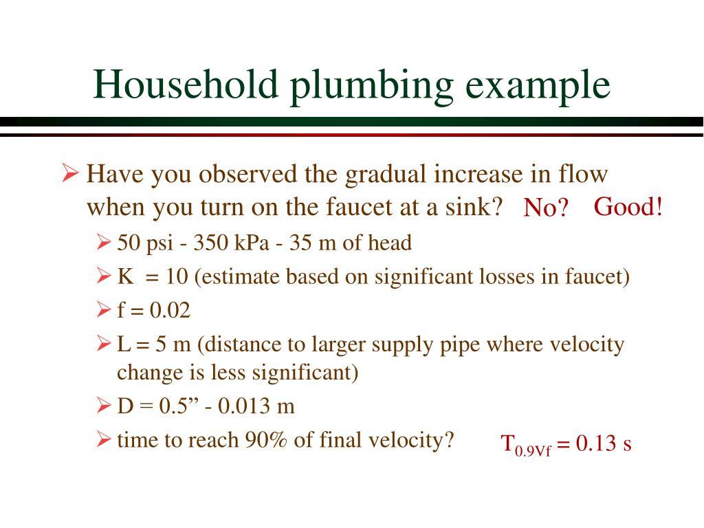 Household plumbing example