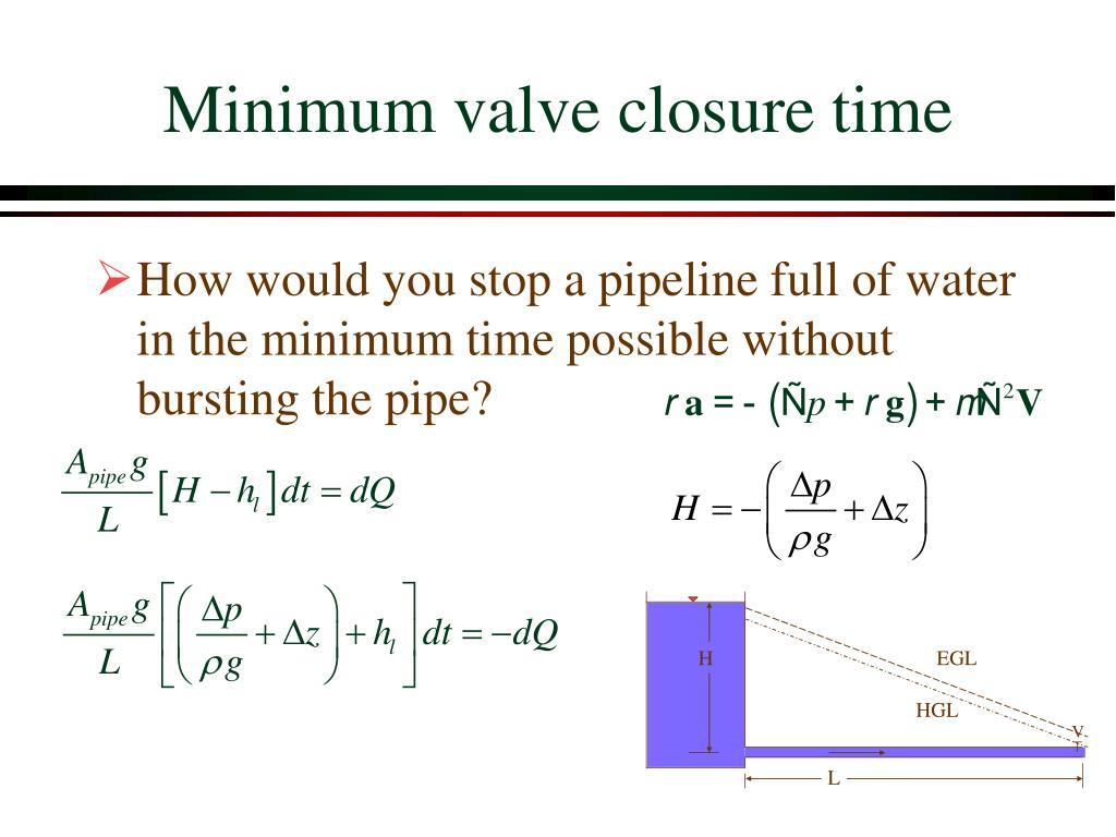Minimum valve closure time