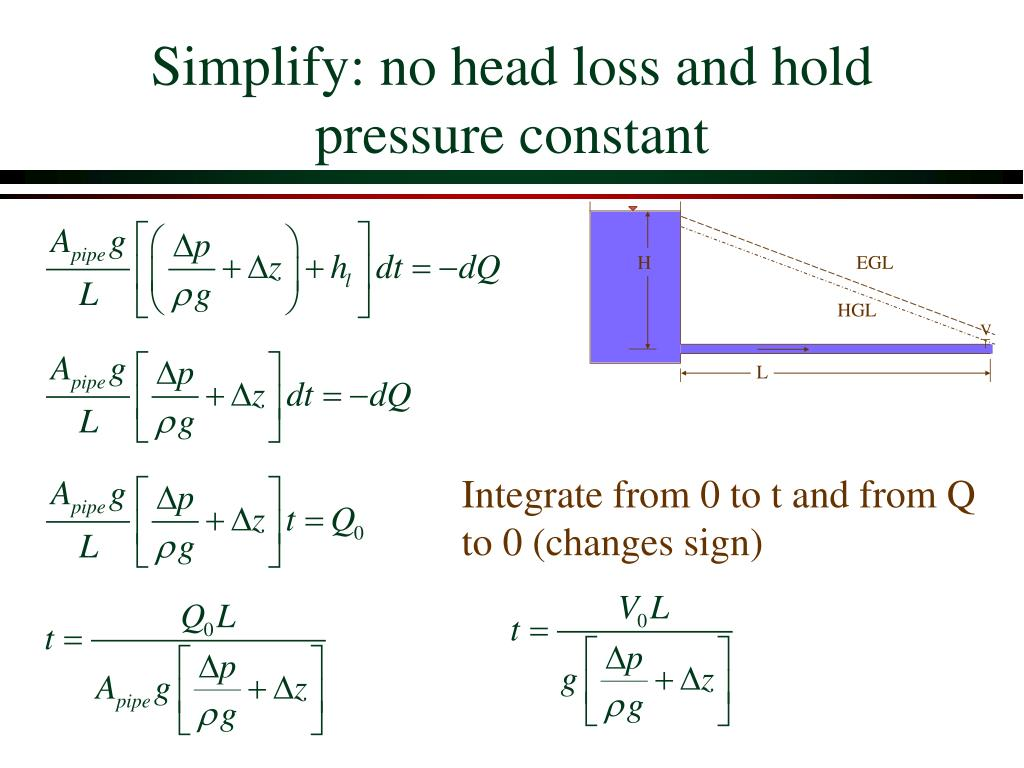 Simplify: no head loss and hold pressure constant