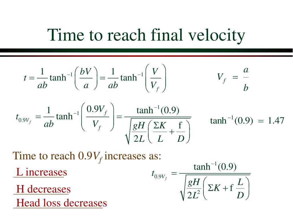 Time to reach final velocity
