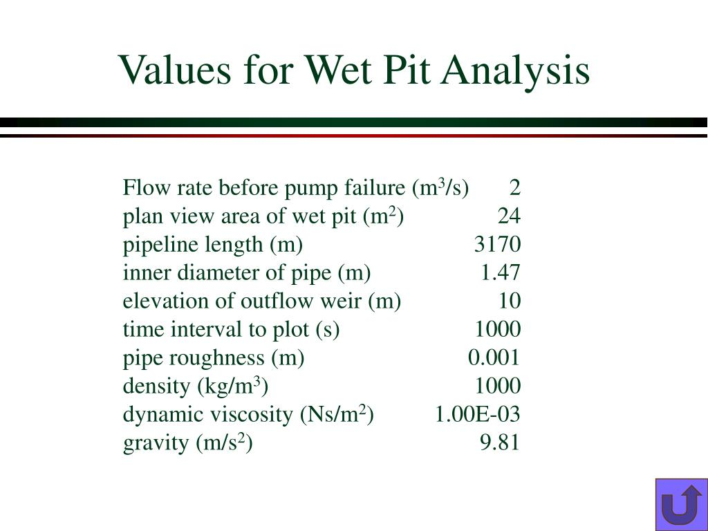 Values for Wet Pit Analysis