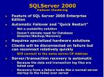 sqlserver 2000 failover clustering