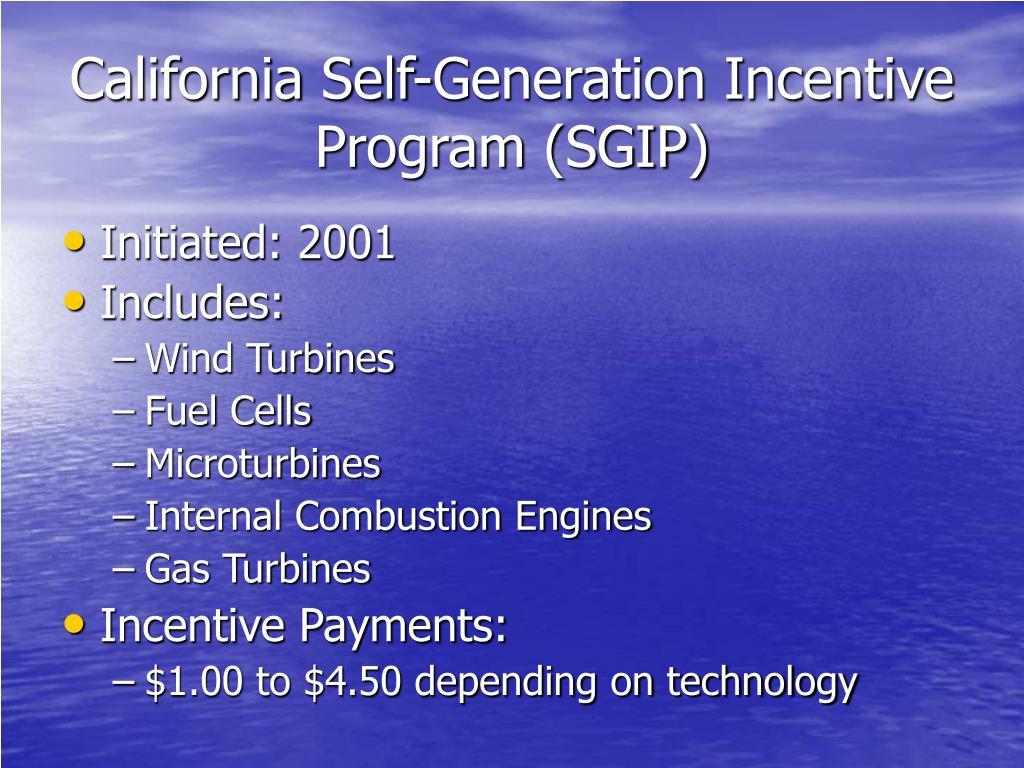 California Self-Generation Incentive Program (SGIP)
