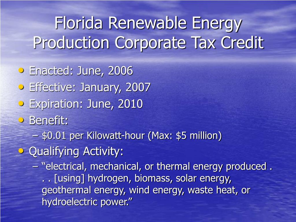 Florida Renewable Energy Production Corporate Tax Credit